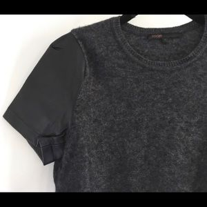 Maje short leather sleeve and wool top.